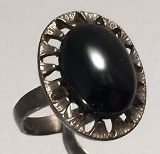 Vintage Sterling Silver Onyx Ring Size 5.5