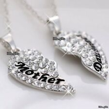 2 PART Mother & Daughter Heart Necklace Silver Wife Lady Aunt Women Gift For Her