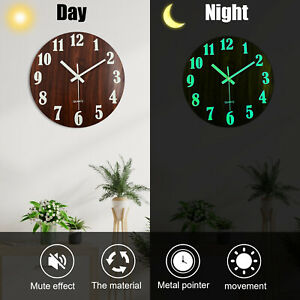 12 Inch Luminous Round Wooden Hallway Indoor Hanging Wall Clock Chic Home Decor