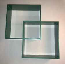Retro Wall Shelf Double Square Plastic 1960s B&R Cube Vtg Mfg Co Green Decor