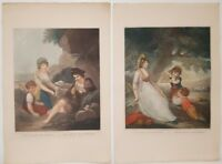 ROMANCE Engravings Singleton 18th Century  LARGE PAIR GORGEOUS HAND COLORED