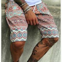 Mens Floral Print Trend Shorts Casual Travel Home Lace Up Boho Summer Short Pant