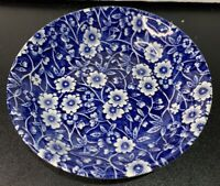 Vintage Blue & White Berry Bowl Staffordshire CALICO BLUE Burleigh Stamp