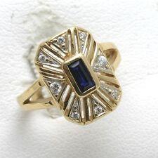 Vintage 14k yellow gold blue Sapphire Sapphire CZ cocktail ring emerald cut!