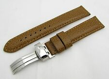 18mm Light Brown Genuine Leather Watch Strap / Band w/ Deployment Buckle / Clasp
