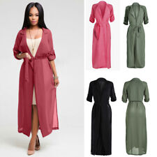 Women Lapel Roll-up Long Sleeve Belted Trench Coat Full Length Chiffon Jackets.