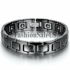 Mens Classical Black Ceramic Magnet Charm Health Bracelet Bangle Chain Wristband