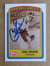 1990 SWELL BASEBALL GREATS CARL ERSKINE #36 AUTOGRAPH SIGNED CARD DODGERS