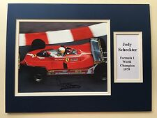 """Formula 1 Jody Scheckter Signed 16"""" X 12"""" Double Mounted Display"""
