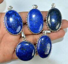 Gemstone Sterling Silver Plated Necklace Pendant 20 Pcs. Blue Lapis Lazuli 925