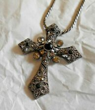 Black colored chain necklace with cross pendant 9 inch drop