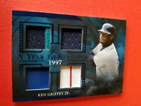 KEN GRIFFEY JR GAME USED JERSEY CARD #2/35 2020 LEAF ITG YEAR 1997 REDS MARINERS