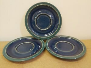 Denby 3 X Side Plate Saucers 7inch Blue Green