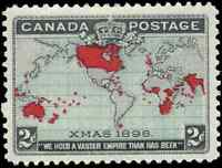 Canada #85 mint VF OG NH 1898 Map/Xmas 2c black,blue & carmine CV$180.00