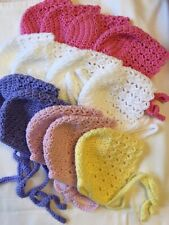 Baby Girls Hats Baby Bonnets Hand Crocheted 0-3 Months Various Colours Availabl