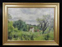 Oil on Cardboard Representative Un Landscape Burgundy Signed Bricquet circa 1930