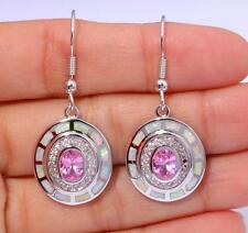 STUNNING SILVER/RHODIUM PLATED WHITE LAB FIRE OPAL /PINK TOPAZ/CZ DROP EARRINGS