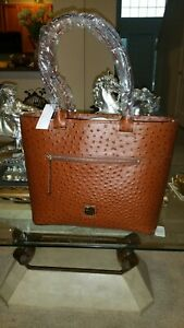 Dooney & Bourke Ostrich Large Embossed Leather Zip Tote Brown Authentic NWT