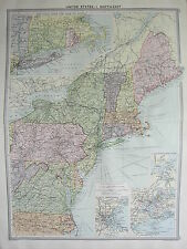 1920 LARGE MAP ~ UNITED STATES NORTH-WEST NEW YORK BOSTON HARBOUR MAINE VIRGINIA