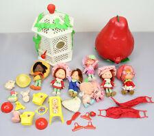 Vintage strawberry shortcake miniatures LoT of 8 figures GAZEBO CASE RETRO TOY