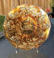 Rare Vintage Carnival Glass Fenton Peacock and Urn Plate in Marigold