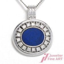Anhänger in 18K WG,  ca.18 Diamanten ca. 0,36 ct TW/VSI + 1 Lapis-Lazuli - 9,7 g