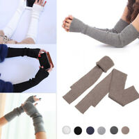 Women Winter Cashmere Blend Knitted Long Gloves Solid Color Warm Elbow Mitten