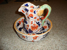 VERY NICE DECORATIVE IRONSTONE PITCHER AND BOWL WITH SERPENTINE HANDLE