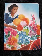 Menu Moore McCormick Lines Blank Menu Woman and Flowers Ada Peacock Artist