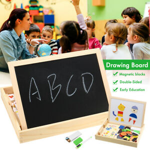 Wooden Magnetic Learning Box With Whiteboard and Chalkboard Jigsaw For Kids
