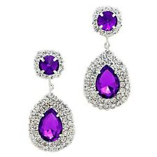 Purple diamante earrings sparkly rhinestone statement bling party prom evening