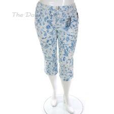CHAPS by Ralph Lauren WOMEN'S Size 16 WHITE & BLUE Denim CAPRI PANT Slimming Fit