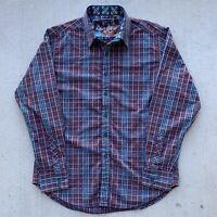 Robert Graham Plaid Shirt Button Down Size Medium Classic Fit Red Blue Men's