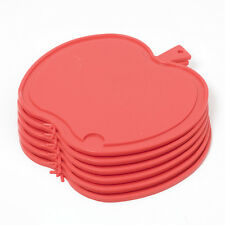 6 Stück Bable Frühstücksbrettchen Apfel-Form Rot Kunststoff Schneidbrettchen Set