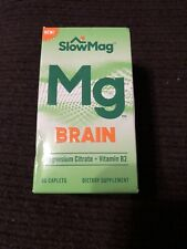 SlowMag Mg Brain Magnesium Citrate + Vitamin B2 Supplement, 60 Caplets Exp 12/20
