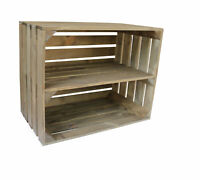 WOODEN APPLE CRATE WITH LONG INTERNAL SHELF STORAGE DISPLAY SHOE RACK