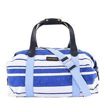 d44e2f6817 DOLCE   GABBANA Striped Travel Sport Gym Boston Bag Canvas White Blue 05319