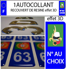 1 sticker plaque immatriculation auto DOMING 3D RESINE LEGION N° AU CHOIX