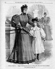 Stampa antica MODA INVERNALE abiti eleganti 1893 Old print fashion