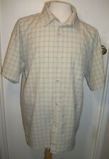 Solo mans shirt 2XL poly/rayon beige,taupe,ivory,black plaid short sleeve