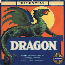 *Original* DRAGON HI-TOP Redlands VERY RARE Orange Crate Label NOT A COLOR COPY!