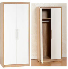 Seconique Seville Bedroom Range Oak White High Gloss - Wardrobe Drawers Bedside