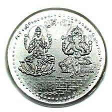 Laxmi Ganesh Ganesha Lakshmi Silver Tone Puja Yantra Lucky Hindu Temple Coin