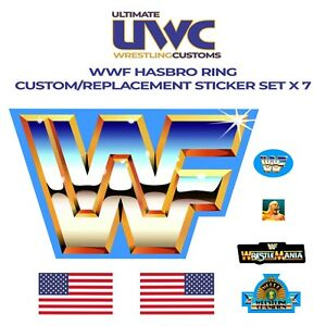 WWF HASBRO WRESTLING FIGURE RING REPLACEMENT DECAL STICKER WWE SELF ADHESIVE