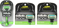 Gillette Body Razor Handle + 8 Refill Blade Cartridges