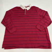 Liberty Blues Polo Shirt Men's 3XL XXXL Big Long Sleeve Blue Red Striped Cotton