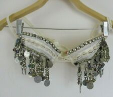 belly dancer top bra white bikini top coin old vintage S or XS anaya tribal