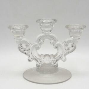 Vintage Glass Candelabra 3 Candlestick Holders