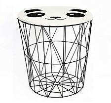 Panda Black Wire Wooden Top Storage Basket Round End Side Table Home Furniture