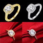 Women Men Princess Cut White Topaz Gemstone Silver Gold Ring Size 7 8 9 Jewelry